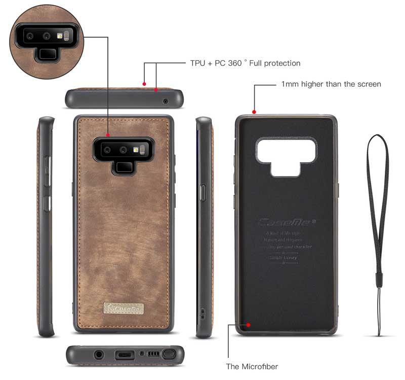 best loved 179bd 1fe82 CaseMe Samsung Galaxy Note 9 Wallet Case Brown