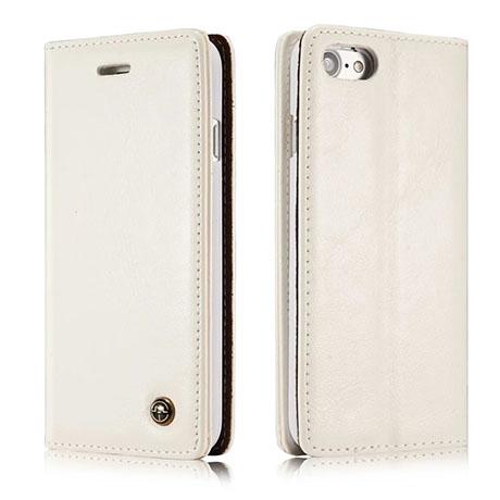 CaseMe iPhone 8 Flip Leather Wallet Case White