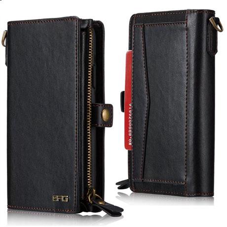 wholesale dealer 9f6ea ab695 BRG iPhone 6S Plus/6 Plus Leather Wallet Case With Wrist Strap Black