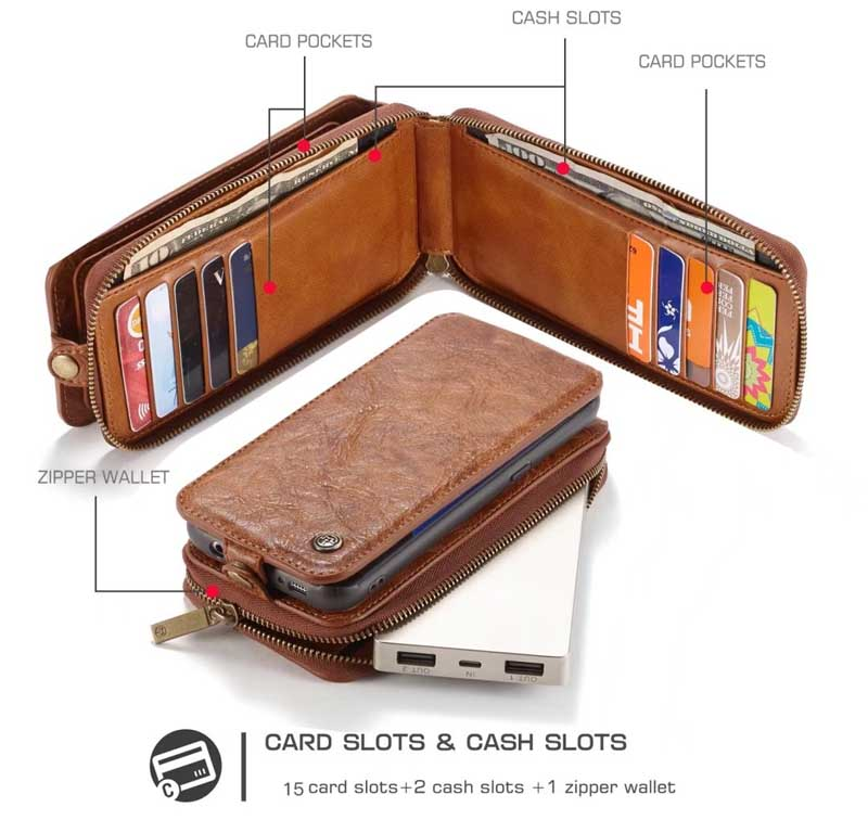 CaseMe Samsung Galaxy S7 Zipper Leather Wallet Case