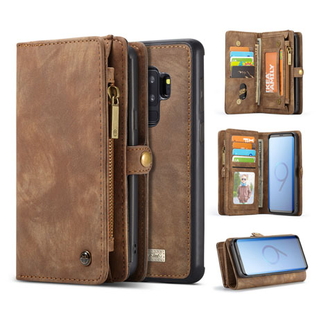 best service 73cd6 915a3 CaseMe Samsung Galaxy S9 Plus Detachable 2 in 1 Magnet Wallet Case Brown