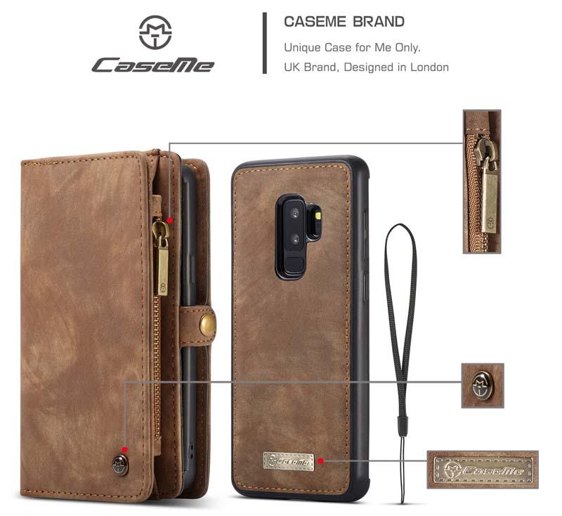 CaseMe Samsung Galaxy S9 Plus Detachable 2 in 1 Magnet Wallet Case