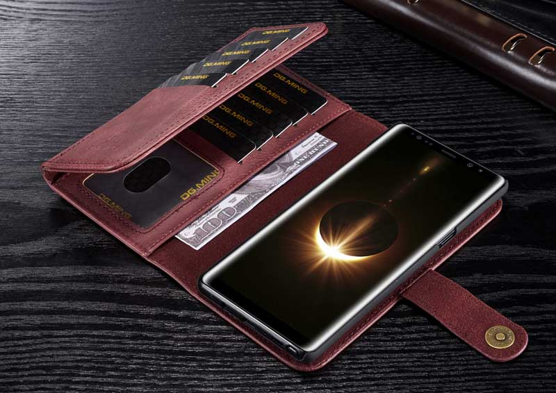 DG.MING Samsung Galaxy Note 8 Detachable 2-in-1 Vintage Genuine Cowhide Leather Wallet Case