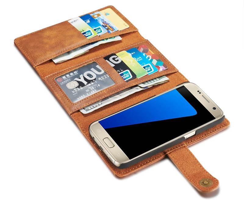 DG.MING Samsung Galaxy S7 Detachable 2-in-1 Vintage Genuine Cowhide Leather Wallet Case
