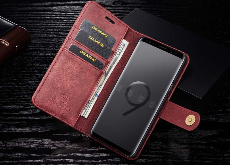 DG.MING Samsung Galaxy S9 Magnetic Detachable 2 in 1 Wallet Case