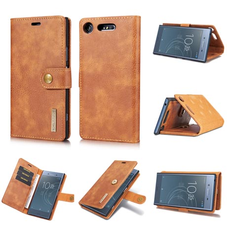 competitive price b3af2 b8ef6 DG.MING Sony Xperia XZ1 Magnetic Detachable 2 in 1 Wallet Case Brown
