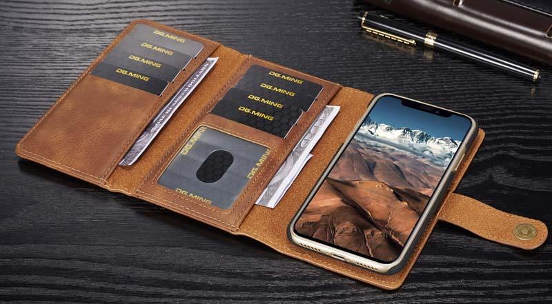 DG.MING iPhone XS Detachable 2-in-1 Vintage Genuine Cowhide Leather Wallet Case