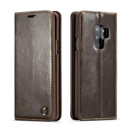 innovative design c8ed2 af52f CaseMe Samsung Galaxy S9 Plus Flip Leather Wallet Case Brown