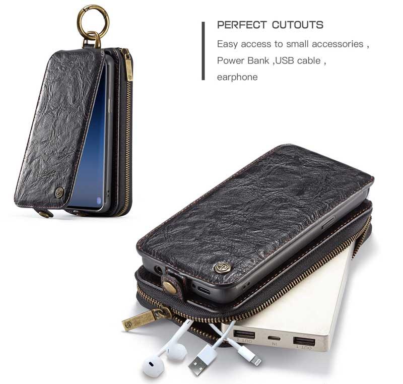 CaseMe Samsung Galaxy S9 Zipper Leather Wallet Case