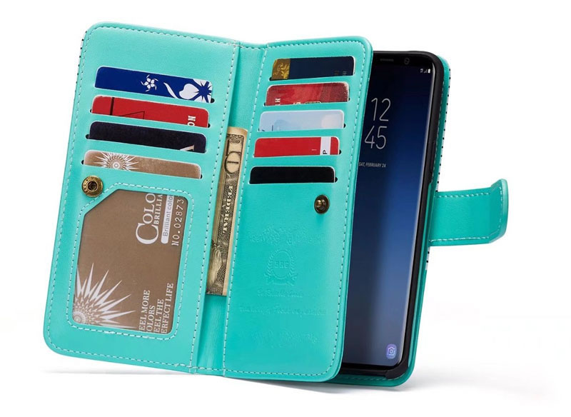 BRG Samsung Galaxy S9 Stripes Leather Wallet Case
