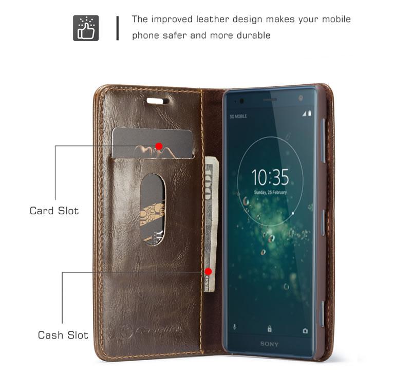 CaseMe Sony Xperia XZ2 Flip Leather Wallet Case