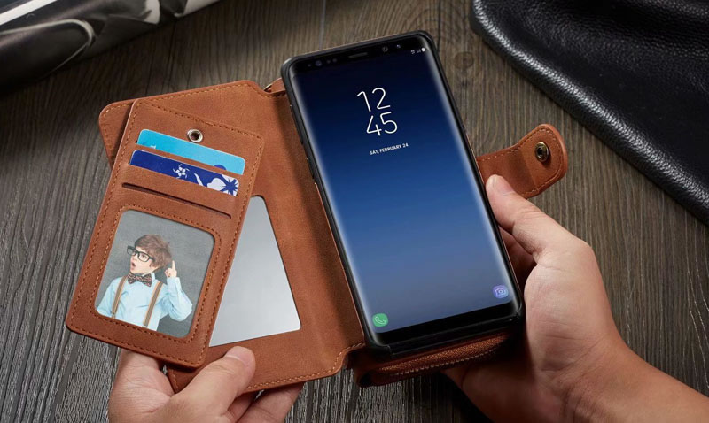 BRG Samsung Galaxy Note 9 Detachable Zipper Wallet Case With Hand Strap
