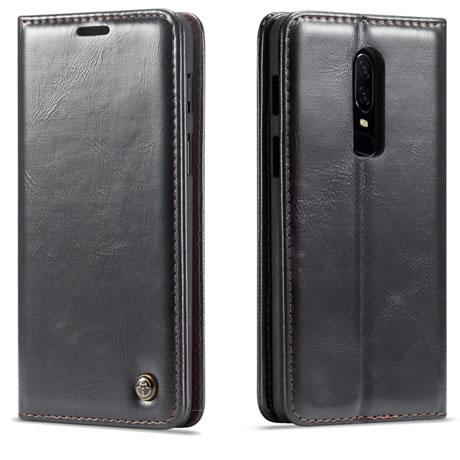 newest cef7a 7dd0a CaseMe Oneplus 6 Magnetic Flip Leather Wallet Case Black