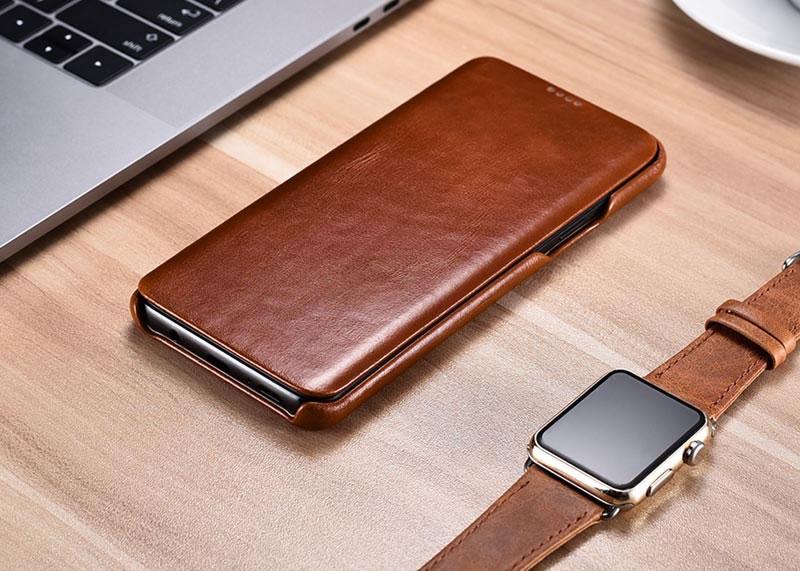 iCarer Samsung Galaxy S9 Curved Edge Vintage Genuine Leather Case