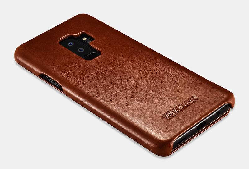 iCarer Samsung Galaxy S9 Plus Curved Edge Vintage Genuine Leather Case