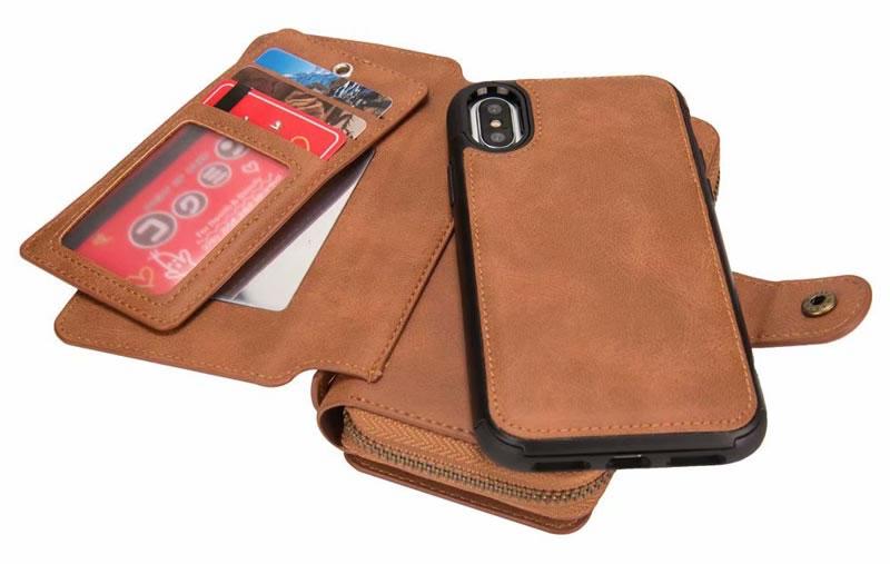 BRG iPhone XS Max Detachable 2 in 1 Zipper Wallet Case