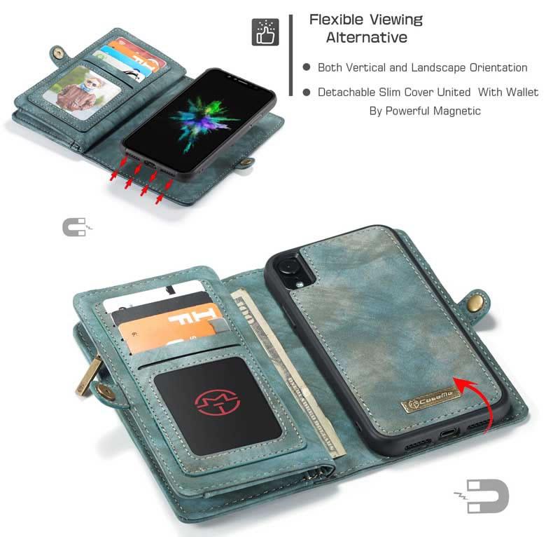 CaseMe iPhone XR Detachable 2-in-1 Vintage Leather Zipper Wallet Case