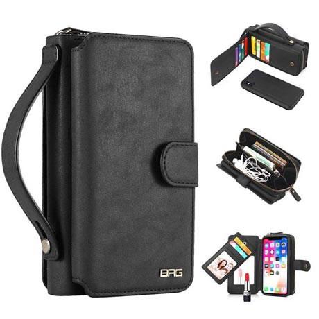 best authentic 80adb 8139b BRG iPhone XR Detachable 2 in 1 Zipper Wallet Case with Handbag Black