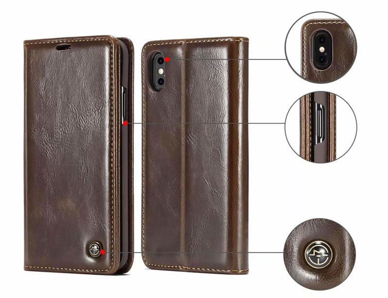 CaseMe iPhone XS Max Magnetic Flip Retro Leather Wallet Case