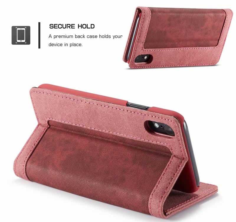 CaseMe iPhone XR Canvas Magnetic Flip Wallet Case