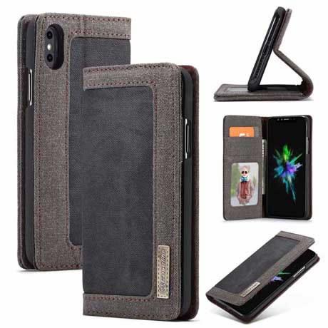 fee8dfbb9e15 CaseMe iPhone XS Max Canvas Magnetic Flip Wallet Case Black