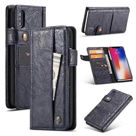 742b5e20280e CaseMe iPhone XS Max Retro Leather Wallet Case Blue