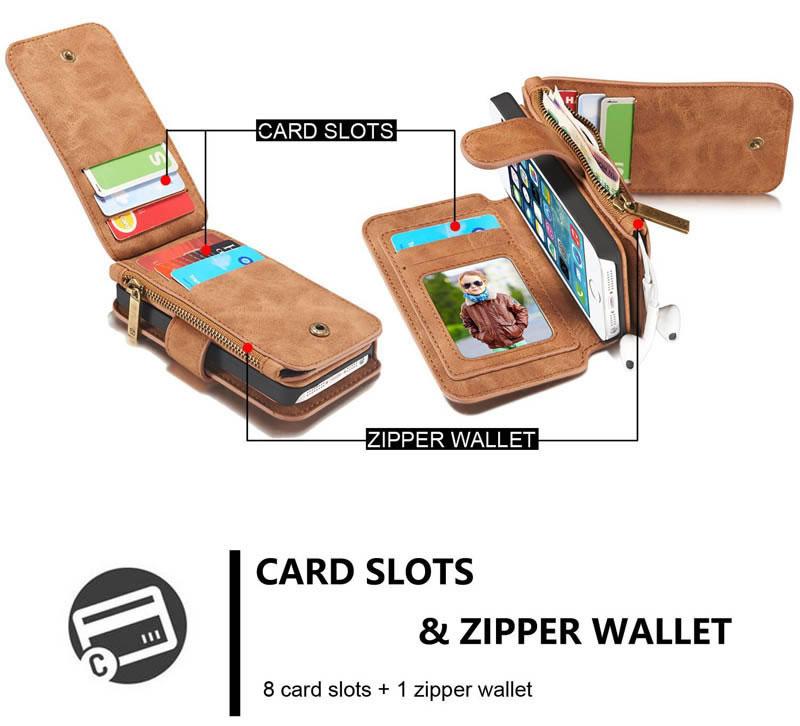 CaseMe iPhone SE/ 5S/ 5 Magnetic Detachable 2-in-1 Zipper Wallet Case