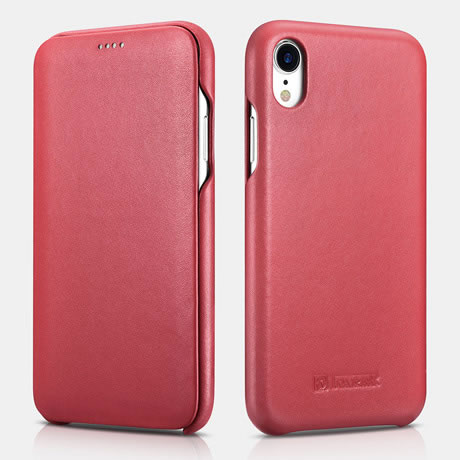online store dc038 7edfe iCarer iPhone XR Curved Edge Luxury Genuine Leather Case Red