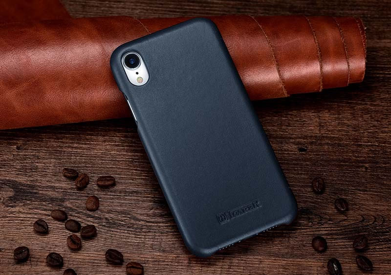 iCarer iPhone XR Curved Edge Luxury Genuine Leather Case