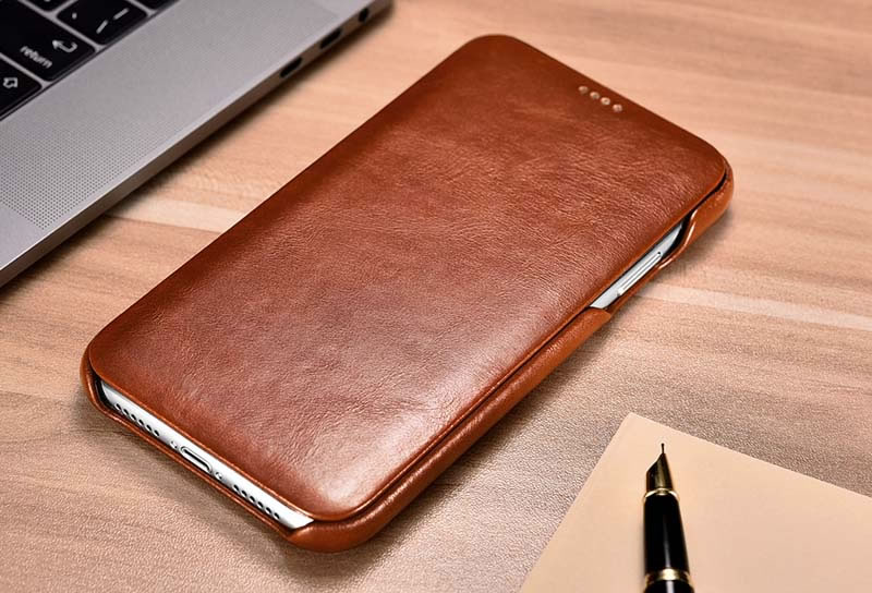 iCarer iPhone XR Curved Edge Vintage Genuine Leather Case