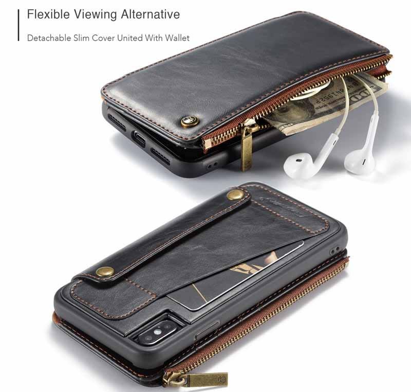 CaseMe iPhone XS Max Detachable Zipper Leather Wallet Case