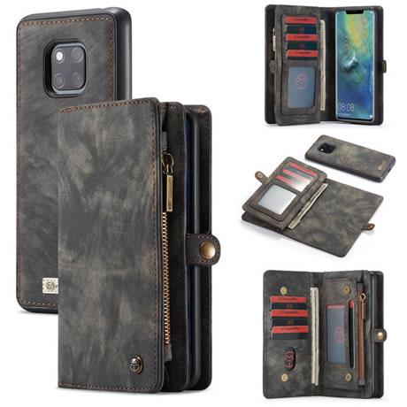 low priced 6b274 6e1fe CaseMe Huawei Mate 20 Pro 2 in 1 Detachable Leather Zipper Wallet Case Black