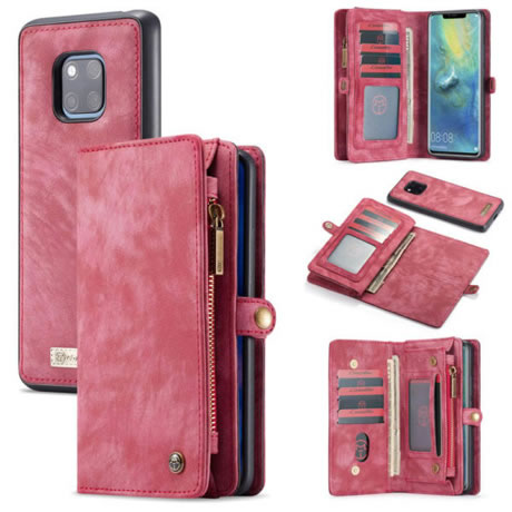 buy online bd6cc 2e0af CaseMe Huawei Mate 20 Pro 2 in 1 Detachable Leather Zipper Wallet Case Red