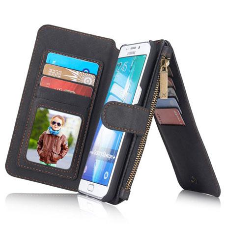 los angeles 87976 5f1bf CaseMe Samsung Galaxy S6 Edge Plus Zipper Wallet Case Black