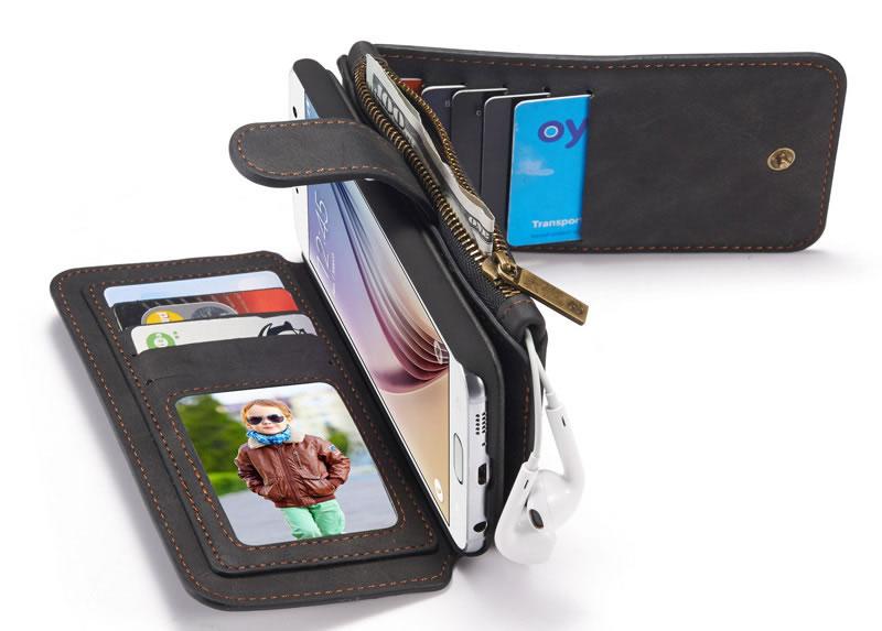 reputable site ab664 1e24c CaseMe Samsung Galaxy S6 Detachable Zipper Wallet Case Black