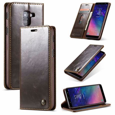 new styles b70f2 1eb41 CaseMe Samsung Galaxy A8 2018 Magnetic Flip Leather Wallet Case Brown