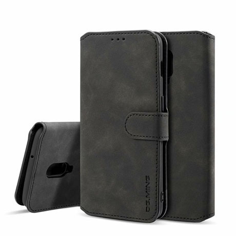 DG.MING OnePlus 6T Retro Leather Wallet Case Black