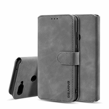 DG.MING Xiaomi Mi8 Lite Retro Leather Wallet Case Gray