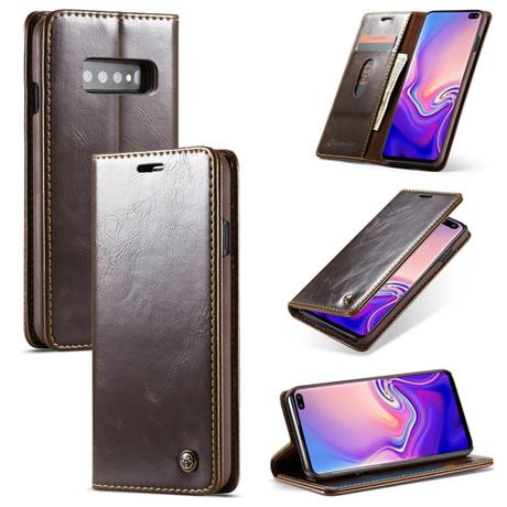 d584fbce4a74 CaseMe Samsung Galaxy S10 Plus Magnetic Flip Leather Wallet Case Brown