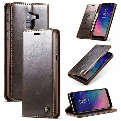 caseme 003 samsung galaxy a6 2018 wallet case brown