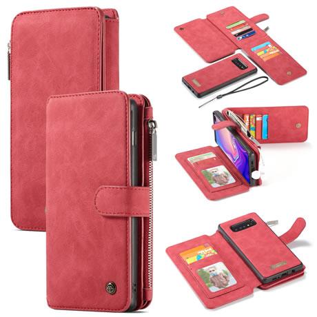 CaseMe Samsung Galaxy S10 Detachable Zipper Wallet Case Red