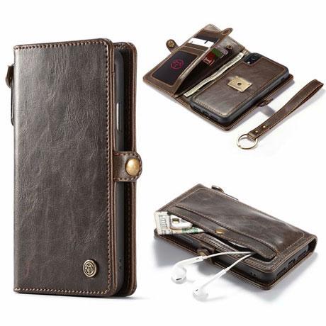 caseme iphone xr qin wallet case brown