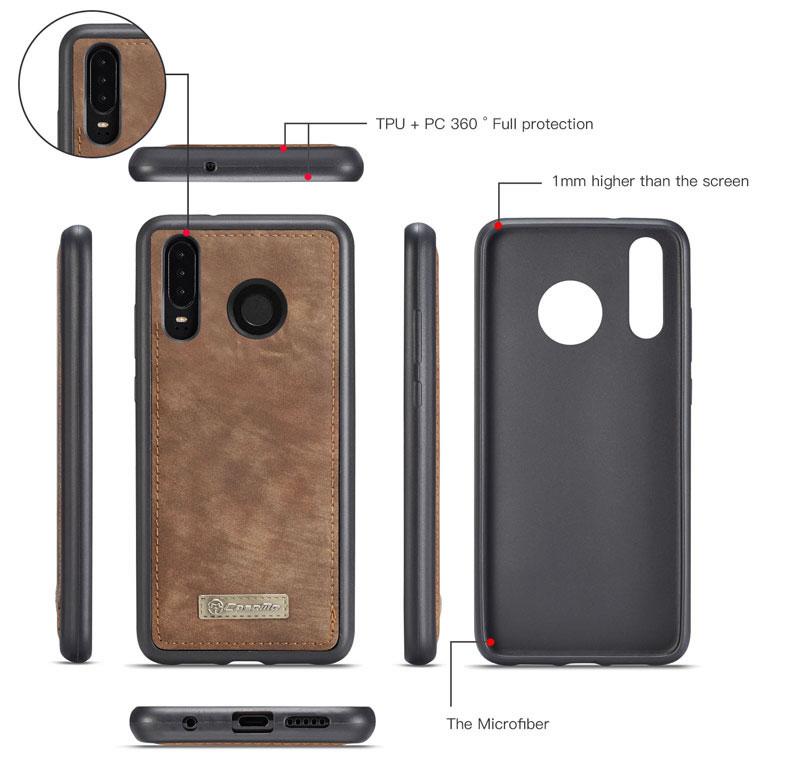 CaseMe Huawei P30 Lite Removable Zipper Wallet Case
