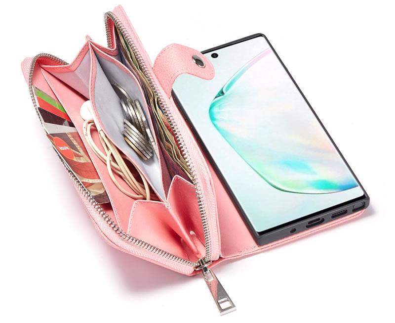 BRG Samsung Galaxy Note 10 Plus Litchi Texture Zipper Wallet Case