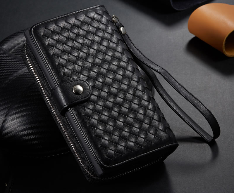 BRG Samsung Galaxy Note 10 Weave Texture Zipper Wallet Case