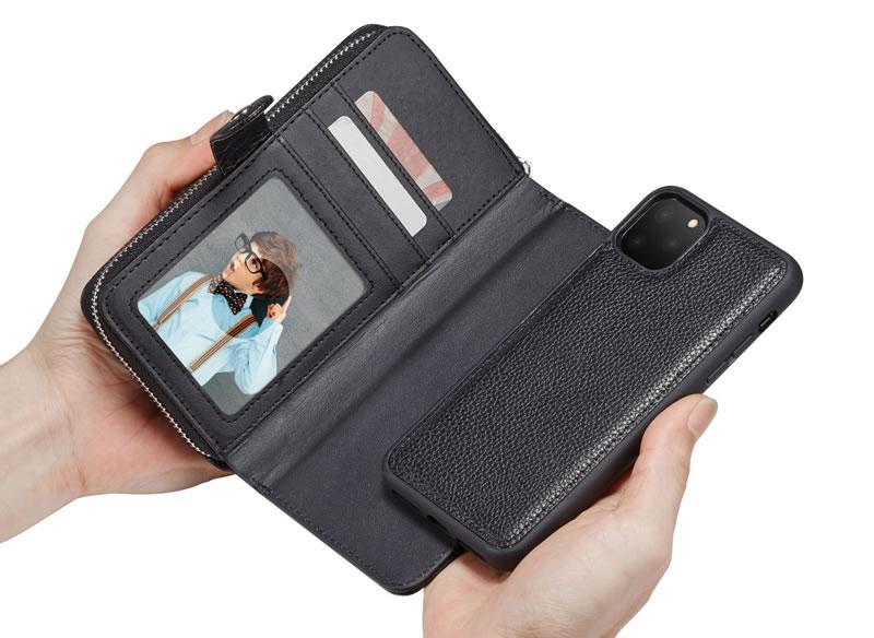 BRG iPhone 11 Litchi Texture Zipper Wallet Case