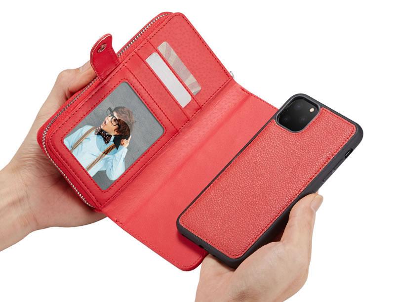 BRG iPhone 11 Pro Litchi Texture Zipper Wallet Case