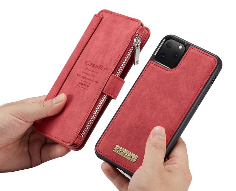 CaseMe iPhone 11 Pro Zipper Leather Wallet Case