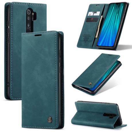 Caseme Xiaomi Redmi Note 8 Pro Anti Fall Retro Leather Wallet Case Blue