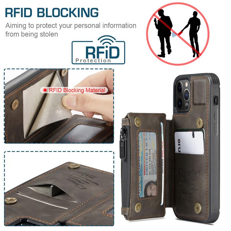 CaseMe iPhone 12 Pro Max Leather Wallet Case